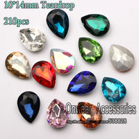 225pcs 10 14mm Pointback Teardrop Crystal Stone Beads Faceted Pear Drop Glass Chatons For Jewelry Making