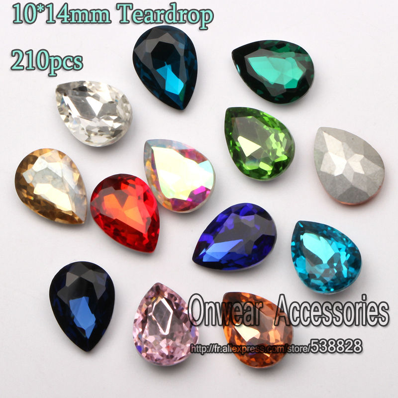 цены 225pcs 10*14mm Pointback Teardrop Crystal Stone Beads Faceted Pear Drop Glass Chatons For Jewelry Making