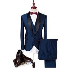 2018 Новый Однотонная одежда Для Мужчин's Костюмы Куртки + Брюки для девочек + Вязаные Жилеты для женщин 3XL 4XL Темно-синие вино красное стильный Бизнес свадьбы и банкеты Slim Fit