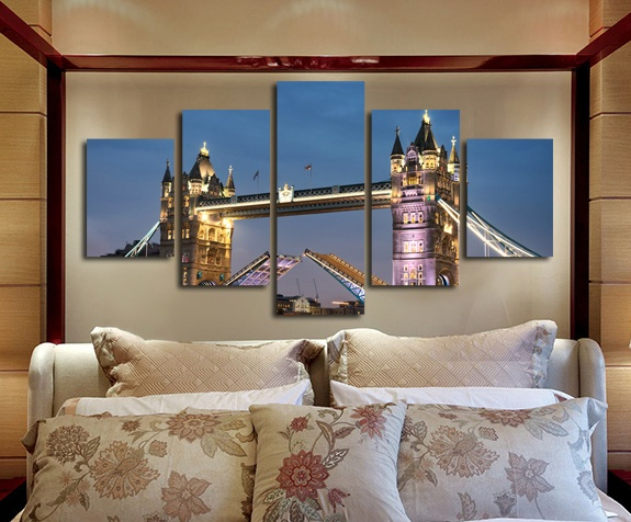 London Tower Bridge Canvas Prints Night Landscape Pictures Unframed 5 piece Wall Art Decoration