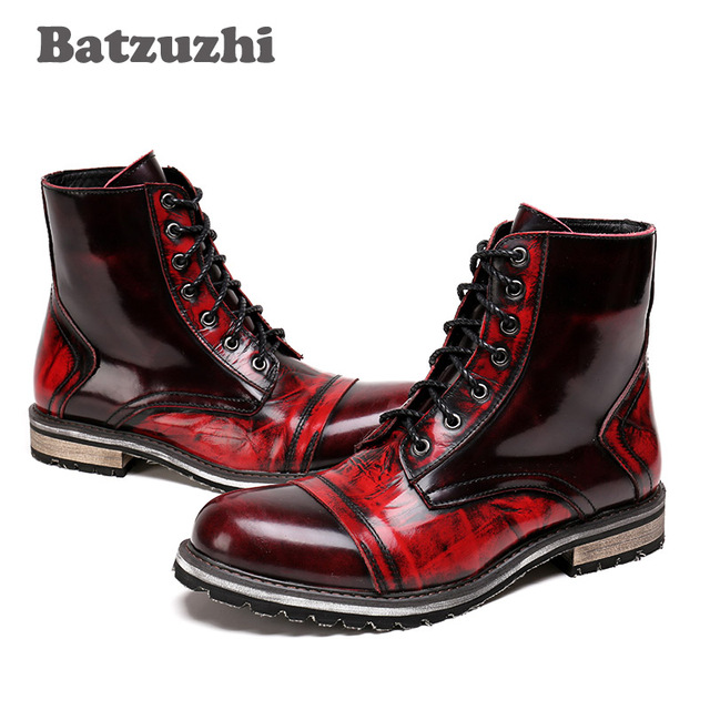 e189e05588 Western Cowboy Boots Men Lace-up Round Toe Genuine Leather Boots Men  Motorcycle Combat Boots Men safety shoes botas hombre