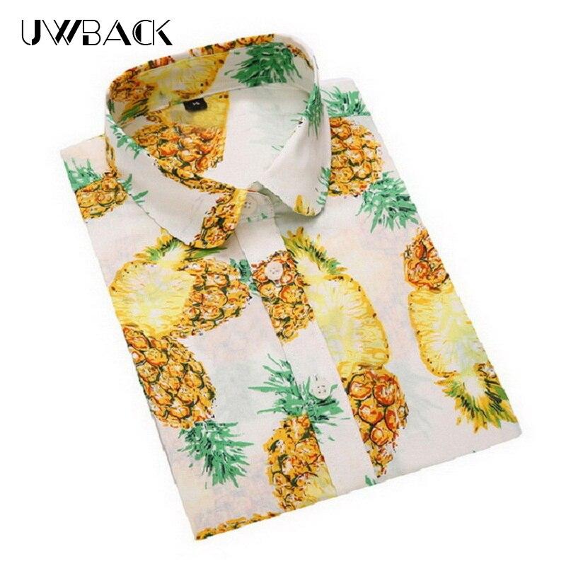 Uwback Femmes Hawaï Chemises Coton Pineaplle Chemise Floral 2018 New Summer Femmes Casual Blouses Rayé À Manches Courtes Chemises, EB514