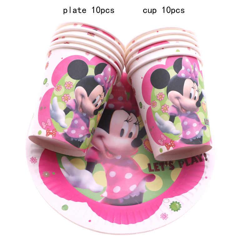 Minnie Mouse Decorações Do Partido Dos Miúdos Unicórnio talheres Descartáveis Placas Copos Fontes do Partido de Aniversário Do Chuveiro de Bebê
