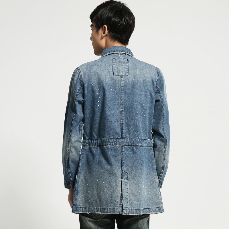 96d6f3ee07c Plus Size Men s Denim Jacket Long Section Slim Wash Cotton Frayed Fashion  Jeans Coat Men Distressed Male Tops-in Jackets from Men s Clothing on ...