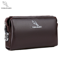 YUESKANGAROO Brand Business Leather Men Long Wallets Clutch Purse Man S Handy Bags High Capacity Wallet