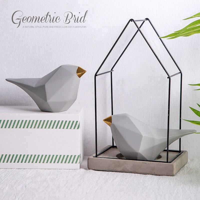 Style européen géométrique oiseau décoration abstraite oiseau figures créatives résine animaux figures décoration de ménage
