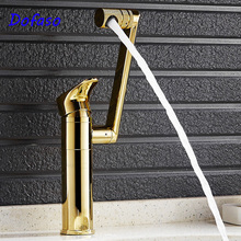 Dofaso luxury Bathroom Basin Faucet Gold Finish Brass Mixer Tap Tall torneiras para banheiro Hot and Cold Sink faucet Deck Mount