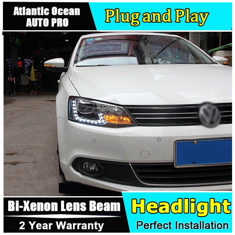AUTO PRO 2011-2014 For vw jetta mk6 headlights car styling For vw jetta head lamps parking LED DRL+ HID KIT kit +Bi-xenon Double led headlights for vw volkswagen golf 6 mk6 2010 2014 uu type drl led headlights demon eyes