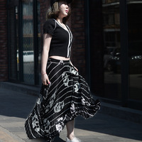2017 Spring Long Stripe Leaves Pattern Elastic Waist Pleated Skirts Women New Preppy Style Ankle Length Empire Saias