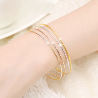 4PCS AU750 Solid Gold Bangle Lucky Italy Bangle 6.5g Diameter 60mm
