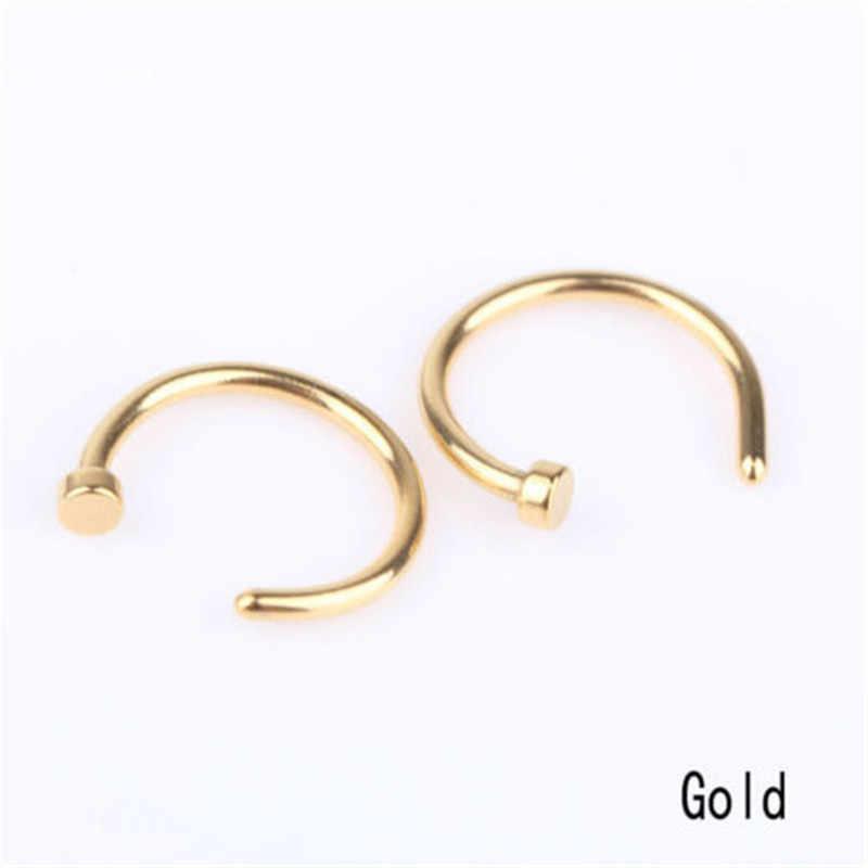 אופנה רפואי נירוסטה מזויף פירסינג מחץ האף טבעת כסף זהב גוף קליפ חישוק עבור נשים בנות S תכשיטי מתנה