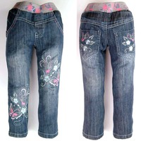 Kid Girls Denim Trousers Casual Jeans With Elastic Waist Flower Butterfly Pants Pattern New 2014 MH2796