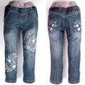 Calças de Brim meninas miúdos floral borboleta bordado Denim cintura alta Calças Adolescentes strass fino MH2796 Legency crianças Calças Apertadas