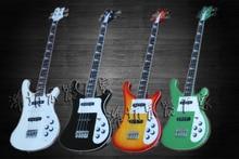 White & Cherry & Green & Black Factory Rickenback custom 4004 Model 4 string bass guitar ricken bass