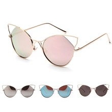 Brand Designer Metal Thin Legs Sunglasses Women Luxury Cat Eye Glasses Vintage Coating Reflective Sun Glasses EyewearJ3