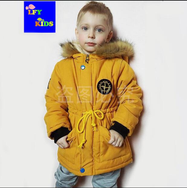 06b7b07acf10e US $13.31 41% OFF|3 years old boy cotton coat 4 baby long section 5 winter  thickening plus velvet jacket 6 children's clothing 2018 new children-in ...