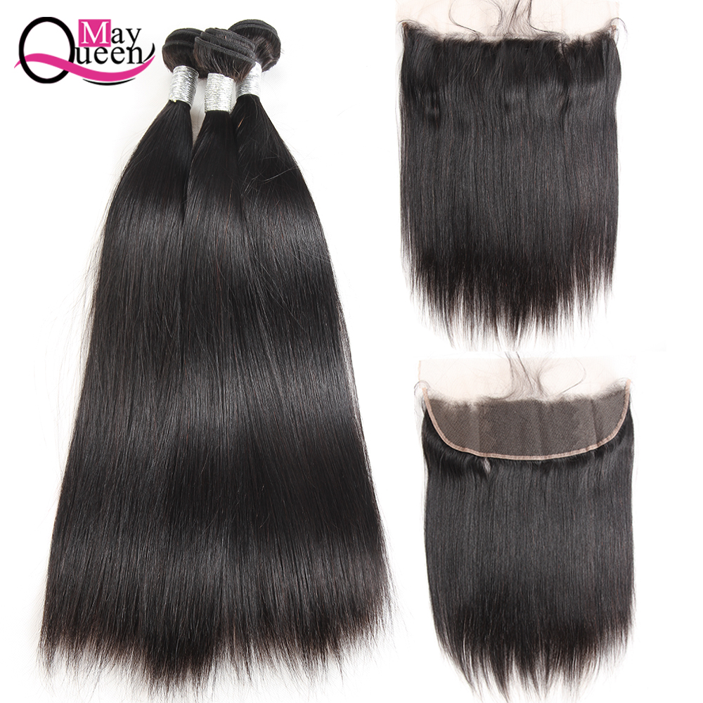 May Queen Brazilian Human Hair Bundles With Lace Frontal Closure 13*4 Pre Plucked Straight Hair Weave Bundles 4Pcs Remy Hair