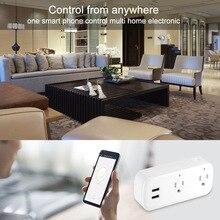 الذكية واي فاي قطاع الطاقة عرام حامي متعددة مآخذ الطاقة 2 منفذ USB التحكم الصوتي لأمازون صدى اليكسا جوجل المنزل الموقت