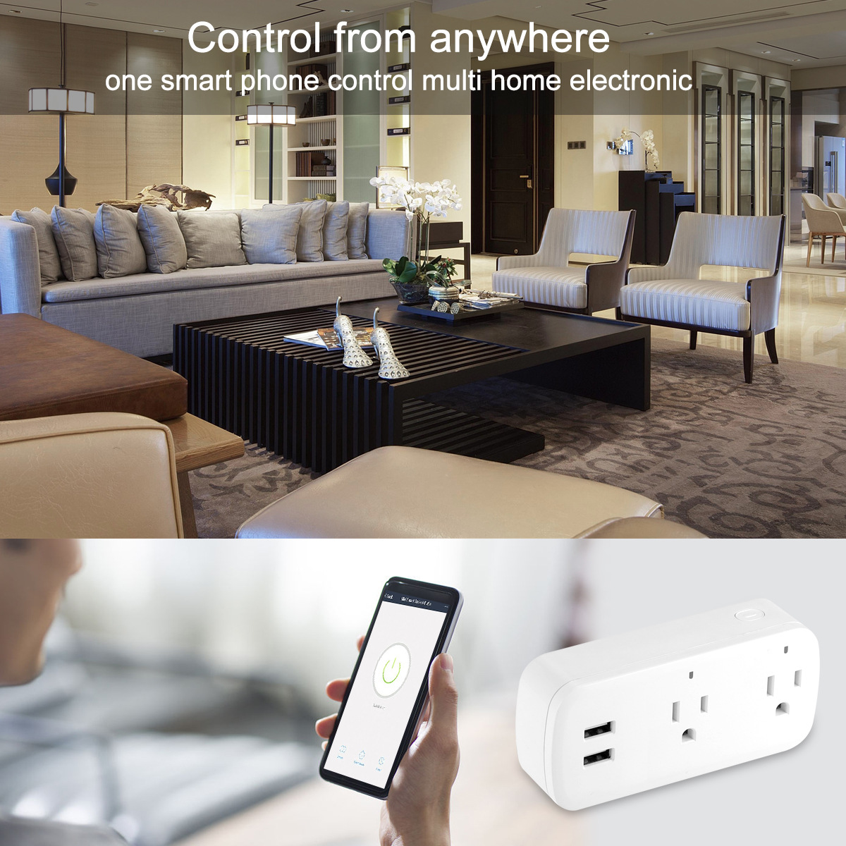 Smart Wifi Power Strip Surge Protector Multiple Power Sockets 2 USB Port Voice Control for Amazon Echo Alexa's Google Home Timer-in Mobile Phone Chargers from Cellphones & Telecommunications
