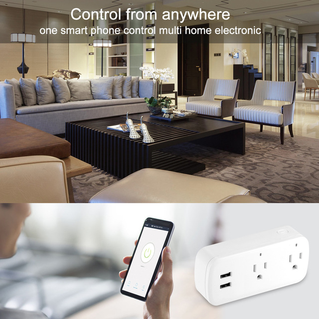 Smart Wifi Power Strip Surge Protector Multiple Power Sockets 2 USB Port Voice Control for Amazon Echo Alexas Google Home Timer