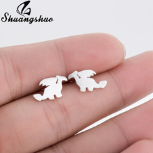 Shuangshuo Cute Fly Dragon Earrings for Women Animal Earrings Korean Earrings Dragon Fashion Earrings Animal boucle d'oreille