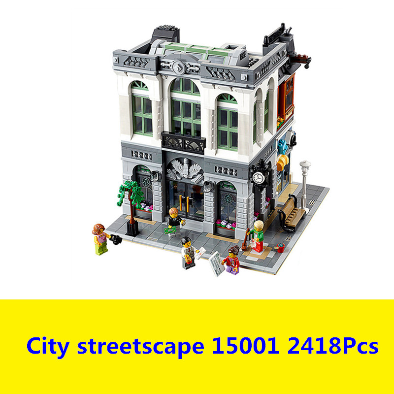 New Lepin 15001 2418Pcs Brick Bank Model Building Kids Blocks Bricks Toy Compatible legoed With 10251 Gift compatible legoed lepin 15001 city street bank model building kits blocks bricks kits education toys for children gifts 10251