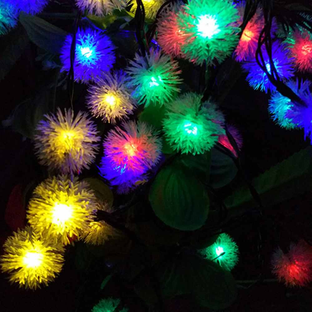 12M 100 Leds Pendant LED Solar Lamp String Lights Snowball Flower Xmas Tree  Party Outdoor Garden Patio Rope Lights Free Shipping In LED String From  Lights ...