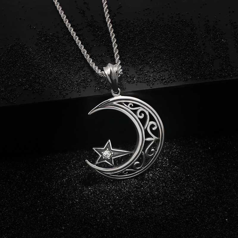 2018 New arrived Stainless Steel Men vintage star with moon pendant necklaces with 60cm long chain fashion necklace male jewelry