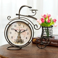 6 Inch Retro Style Tricycle Mute Table clock Vintage Iron Art Silent Desk Clock Decoration Ornament