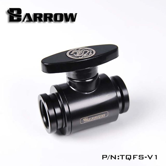 "Barrow water cooler MINI Valve Double Female Ordinary handle Black/Silver/White G1/4"" Water Cooling heatsink gadget Fitting"