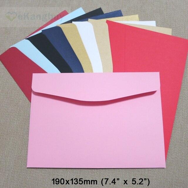 50pcs 190x135mm Color Envelopes Invitation Gift Envelope 120gsm Plain/Pearl Paper Envelope