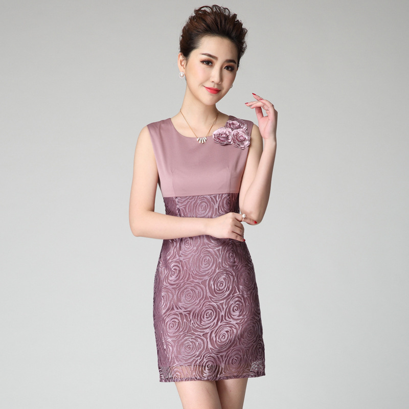 Femmes Ol été grande taille en trois dimensions Rose broderie 20% soie Slim robe femme surdimensionné couverture sans manches robes
