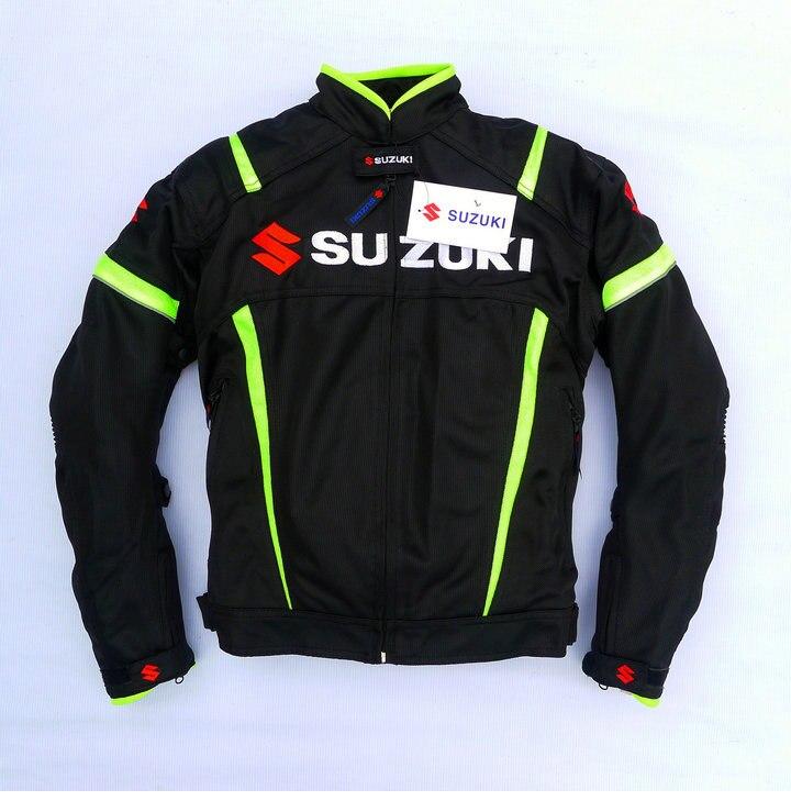 Maille d'été Moto Vestes Moto Racing Vestes Coupe-Vent pour SUZUKI Moteur Avec 5 pièces Protecteurs Hommes Veste De Moto