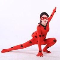 2018 Lady Bug Kids Halloween Girls Miraculous Ladybug Girls Clothing Sets Cosplay Ladybug Child Spandex Full