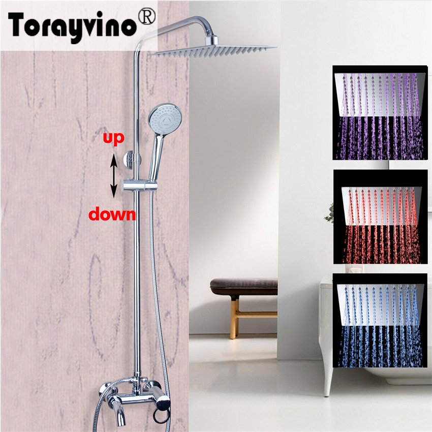 Torayvino Bathroom Shower Faucet Wall Mounted Polished Chrome Mixer Tap 8 Rainfall Shower Faucet Set With Bathroom Hand Spray 8 led new wall mounted ultrathin spray square waterfall handheld shower chrome polished shower sets tap mixer faucet sets head