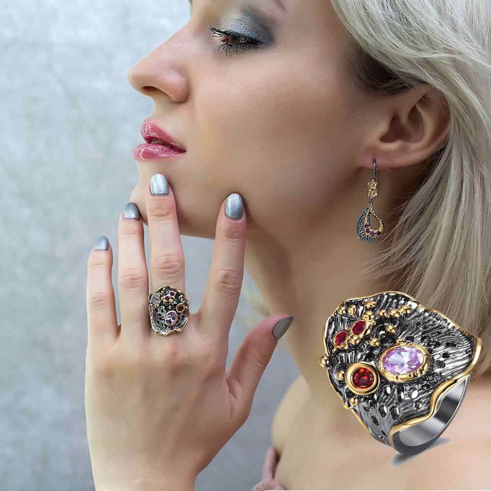 YLMyself 2019 new colorful stones ring crystal Luxury leaf Geometry jewellery Cubic Zironium party jewelry for women