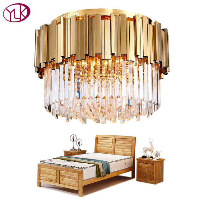Youlaike Round Gold Crystal Chandelier For Ceiling Luxury Modern Bedroom  LED Lustres De Cristal Home Indoor Lighting Fixtures -in Chandeliers from  ...
