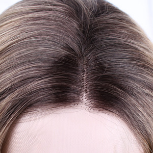 Image 4 - AISI יופי 28 ארוך גלי תחרה מול סינטטי פאות יד קשור אור בלונדיני טבעי Glueless שחור אדום חום עמיד שיער נשים