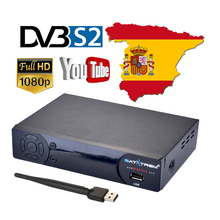 Satxtrem IPS2 Plus DVB-S2 Full HD 1080p Satellite TV Receiver Free Subscription Cccams Cline For 1 year Spain Europe IPTV TV Box