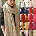 Шарф женщин 2013 леди длинной шерсти пашмины теплая вязать гуд капот зимней шеи обернуть шарф платок бесплатная доставка