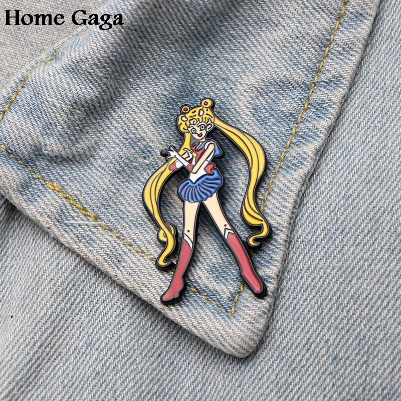 Genteel Homegaga Sailor Moon Luna Cat Metal Zinc Enamel Pins Trendy Para Backpack Shirt Clothes Bag Brooches Badges For Men Women D1476 Home & Garden