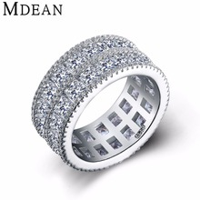 MDEAN White Gold Plated rings for women wedding and Engagement women fashion rings Bague CZ diamond jewelry bijoux ring MSR376