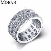 MDEAN Oro Blanco Plateado para las mujeres anillos de boda y de Compromiso de las mujeres anillos de moda CZ diamond joyería Bague bijoux anillo MSR376