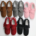 2016 Hot Sale Princess Tassel Solid Color Fashion PU Leather Breathable Elastic Band Sewing Soft Soled Infants First Walkers