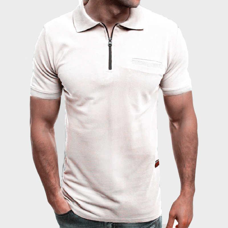 2020 뉴 여름 남성 쿨 폴로 셔츠 남성 캐주얼 반소매 폴로 셔츠 패션 남성 슬림 지퍼 탑스 파라 호 3xl ml250