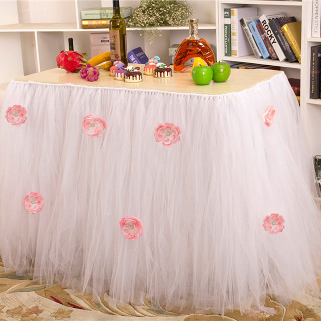 Flower Table Tutu Skirt Tulle Tableware For Wedding Birthday Party Decoration