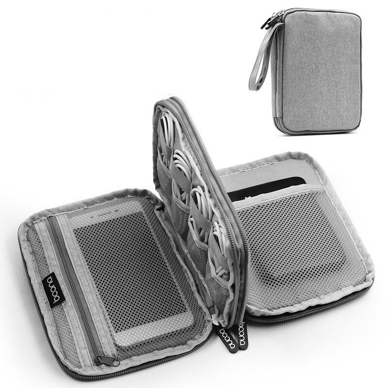 Men Wristlet Purse Handbag Organizer USB Data Cable Earphone Wire Power Bank Travel Bag Kit Case Digital Gadget Devices 2019 New
