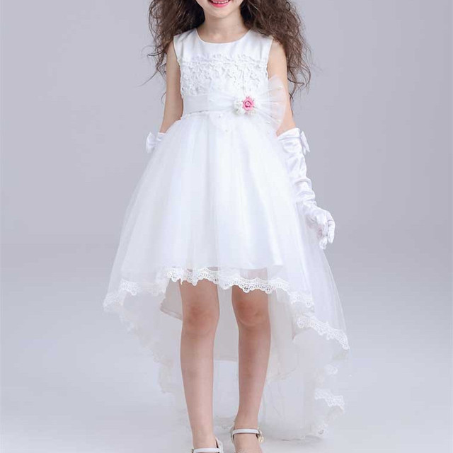 f9cebf9de927 Short Front Long Back Girls Dress for Wedding White Fancy Flower ...