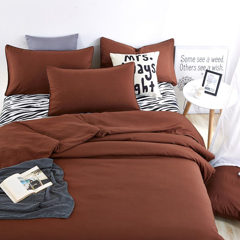 New Bedding Sets Pillowcase Soft and Comfortable Zebra Bed Sheet and Brown Duver Quilt Cover King