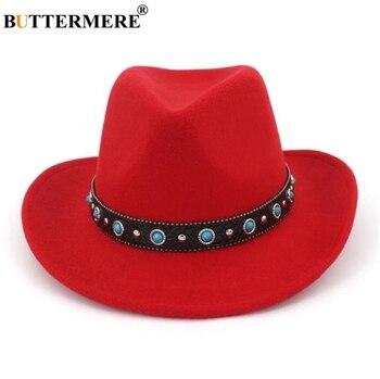 BUTTERMERE rojo sombrero de vaquero de los hombres Jazz sombreros de lana  de las mujeres de estilo étnico de ala ancha marca 2019 nueva occidental  sombrero ... 9aa279bb5da
